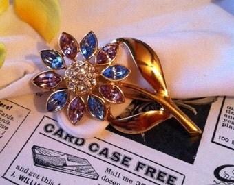 Vintage Gold Tone Pink & Blue Rhinestone Flower Brooch Pin