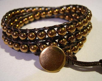 Beaded wrap bracelet, Wrap bracelet, Beaded bracelet, Boho bracelet, Leather wrap, Beaded wrap, Beaded leather wrap - 272