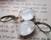 Vintage White Givre Rhinestone Earrings White & Clear Vintage Rhinestone Earrings Winter Wedding Earrings Crystal On White Ice Earrings