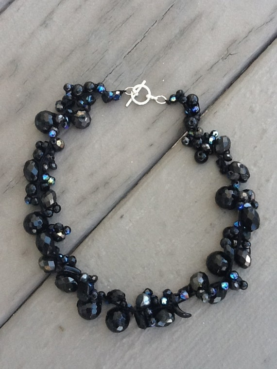 Black Sparkley, Bridesmaid Necklace, Wedding Jewelry