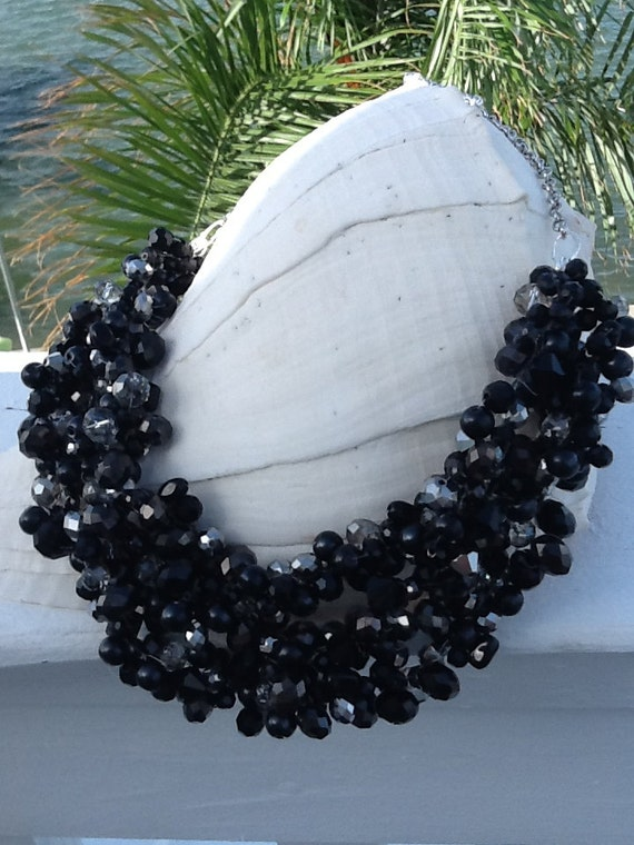 Chunky Black, Statement Necklace, Wedding Necklace, Bridesmaid Necklace, Bridal Jewelry
