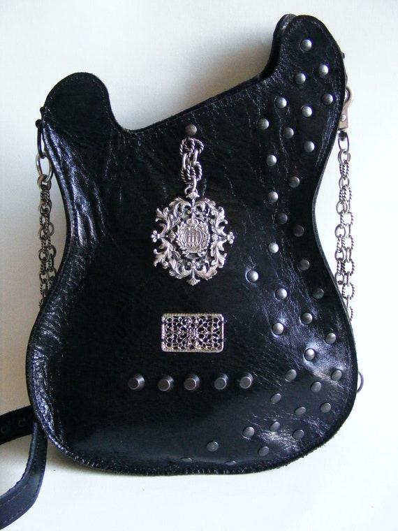 Leather purse. Black Handmade Eco Sustainable Leather Bag.Guitar Shaped Bag. Strato Bag