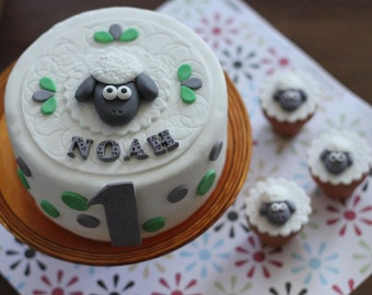 Over 50-Piece Sheep Fondant Cake Topper Party Set - This Set Perfectly Matches Our Sheep Cupcake Toppers