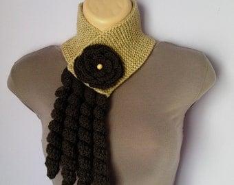 Knitted, Crochet Scarf Neckwarmer, Flower Brooch women brown beige, шарф, sjaal, bufanda, cachecol, sciarpa, Schal, foulard, echarpe