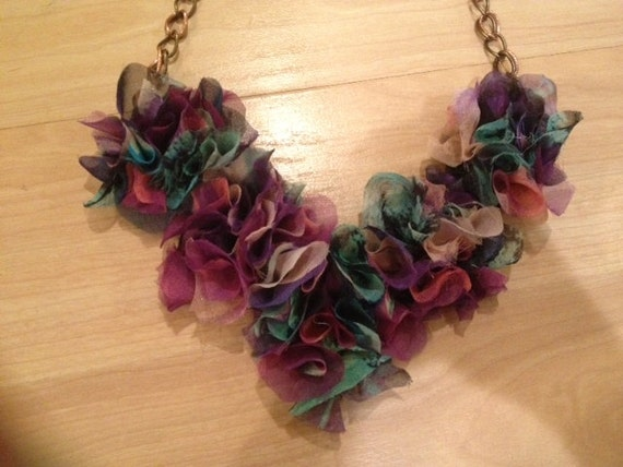 Chloe Multi Fabric Flower Necklace-RESERVED