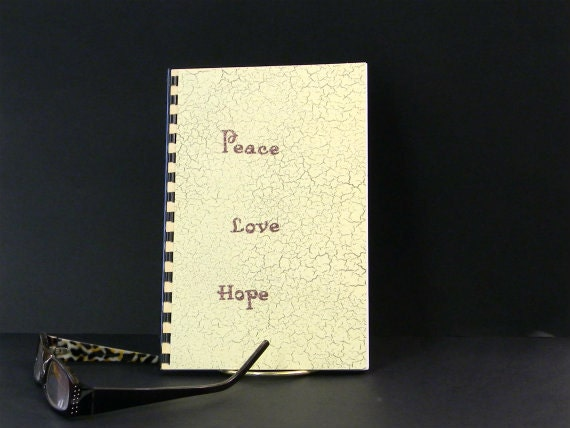 Logon and Password notebook for computer websites with peace love and hope design