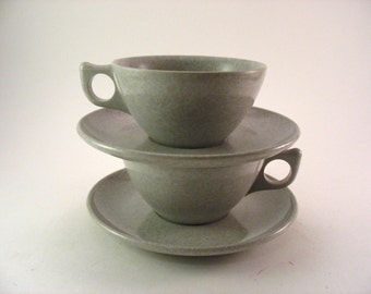 Coloramic Modern Dinnerware By Melmac Cups and Saucers Speckled Heather Gray