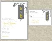 Rustic Wrought Iron Sign Wedding Invitation & RSVP Card Set, DIY Printable Custom Invitations