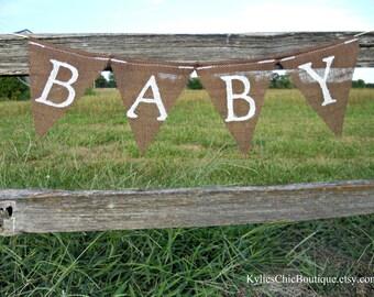 BABY Burlap Garland Gender Reveal bunting boy girl Neutral Shower Decor Maternity Prop Newborn Pennant Bunting Flag Brown White Announcement