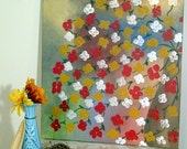 red, yellow and white flowers in brown vase, original acrylic painting on canvas 16x20