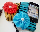 Zipper Clutch  : Teal Stripe pouch/ purse/ iphone case/ pouch - Teal Flower