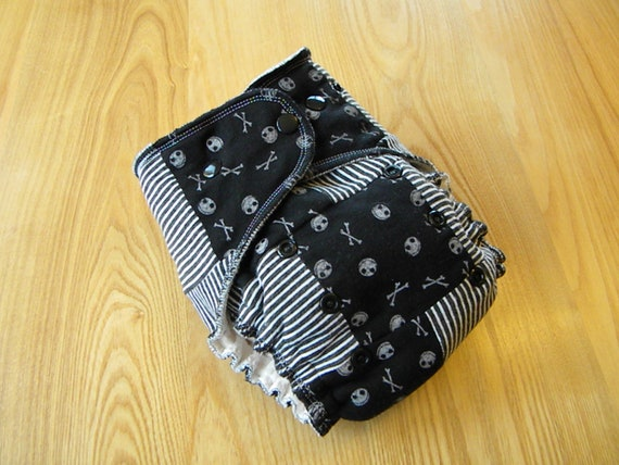 Jack Skellington Scrappy One-Size Velour Fitted Diaper - HTF fabric