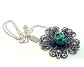 Sugar Skull Filigree Flower Necklace with Swarovski Crystals - Turquoise - Day of the Dead - Etsy Under 50