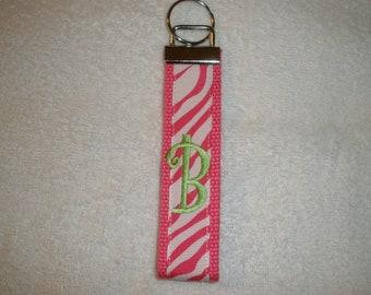 Hot Pink Webbing with Hot PInk Zebra Animal Print Grosgrain riibbon-Monogrammed Key Fob Keychain Cotton Webbing Ribbon Wristlet