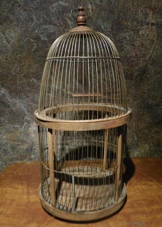 Reserved for Lizzie - Vintage Rustic Wood & Wire 2 Story Birdcage