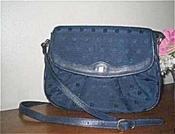 Guy Laroche Handbag Blue Fabric Vintage Purse