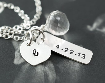 Custom stone Heart necklace, Special date, Birthday gift, Silver heart charm, Bridesmaids gift, Numbers jewelry, Customize charm