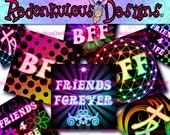 Digital Collage Sheet - 1 INCH SQUARES - Best Friends Forever