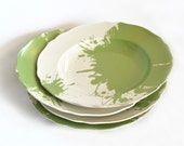 Vintage soup plates - sage green paint spots - set of 4 - reuse up cycled