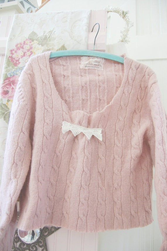 Lambswool Sweater LRG SALE Womens Shabby Chic Clothing Pink Wool Oversized Rustic Altered Couture Of Linen and Lace JCrew Upcycled