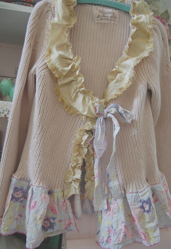 RESERVED FOR MELISSA Shabby Pink Sweater Altered Clothing Prairie Girl Rustic Cotton Eco Upcycled Vintage Silk BoHo Alternative Cowgirl