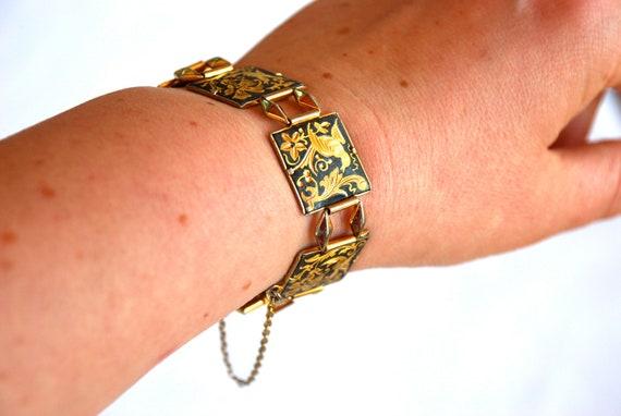 Vintage Damascene Bracelet Square Links Birds
