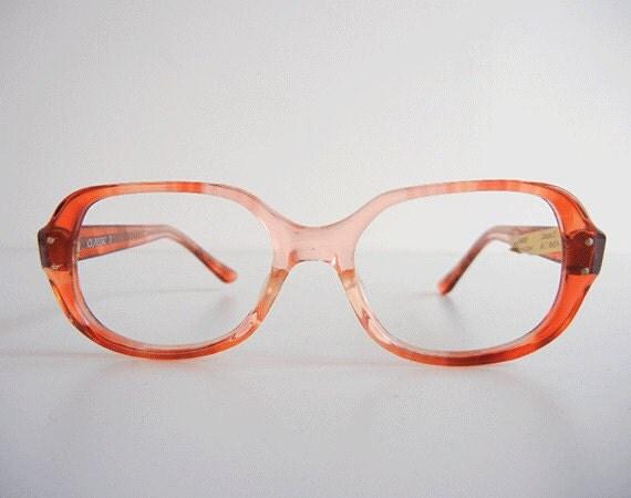 Reserved - Vintage Eyeglass Frames / New Old Stock Peach Horn Rim Eyeglasses
