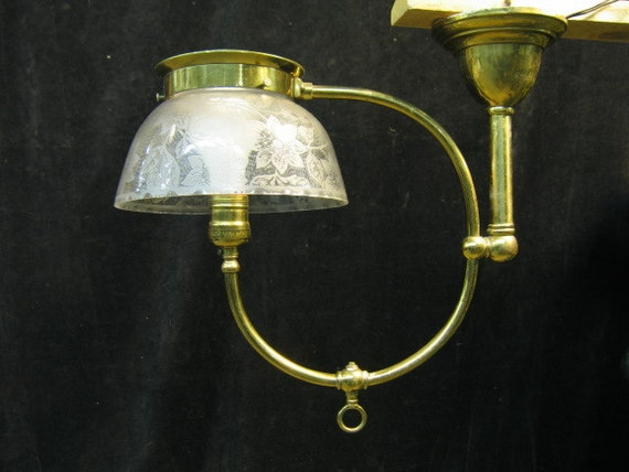 Restored Solid Brass One Light Vintage Gas Chandelier c1890 Rewired, Polished