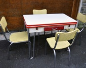HALF OFF 50% Lloyd Chrome Plated and Enamel Retro Diner Kitchen Dinette Set Heywood-Wakefield