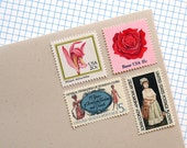 Pink Botanical no. 2 - Vintage unused postage stamps to post 5 letters - or use in scrapbooking and crafts