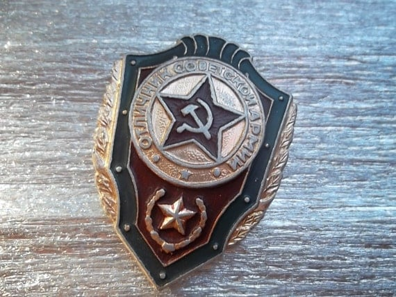 "soviet army military  pin badge ""Excellence in the Soviet Army 1"" aluminum military sign with red star - 100 % original - i"