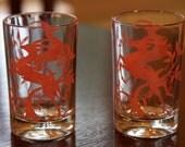 Vintage Pair of Juice Glasses Red Prancing Deer