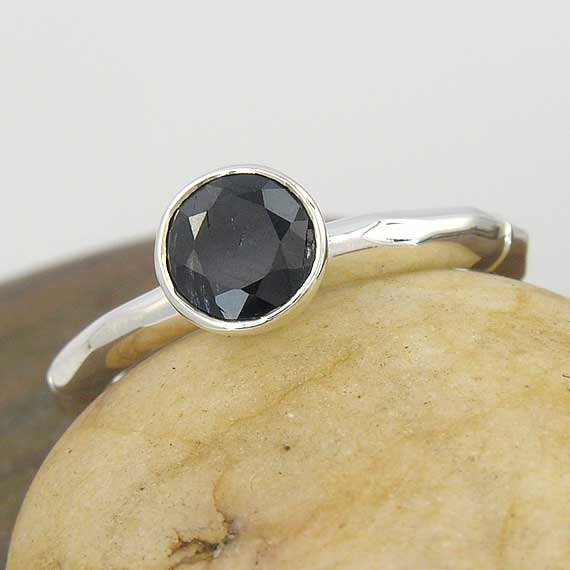 6mm round black Australian sapphire textured sterling silver ring - Your ring size