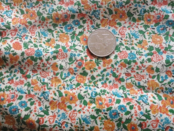 blue and gold floral print cotton blend vintage fabric -- 44 wide by almost one yard