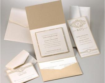 Wedding Invitation Suite - Raw Silk Gold