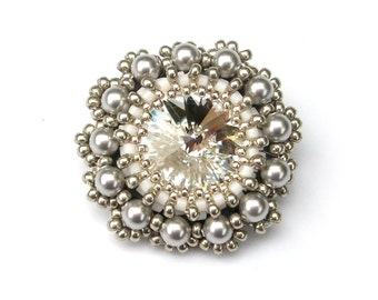 Brooch, Swarovski Crystal Pearl, Beaded Brooch White with Silver Grey Pearls