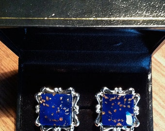 Original Vintage Flecked-Cobalt SWANK Artglass Cufflinks