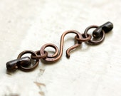 Oxidized Solid Copper Clasp with End Links - fits Ball Chain sizes 1.8mm, 2.0mm, 2.1mm, 2.4mm, Antiqued Solid Copper Handmade Connector Loop