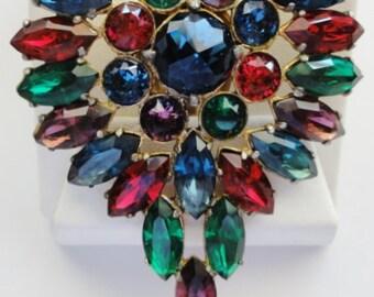 Vintage Large Dress Clip Colorful Czech Rhinestones Rauten Rose Cut Blue Center Stone 1930's Amazing Beautiful Clip