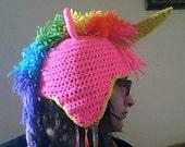 Crochet rainbow unicorn hat