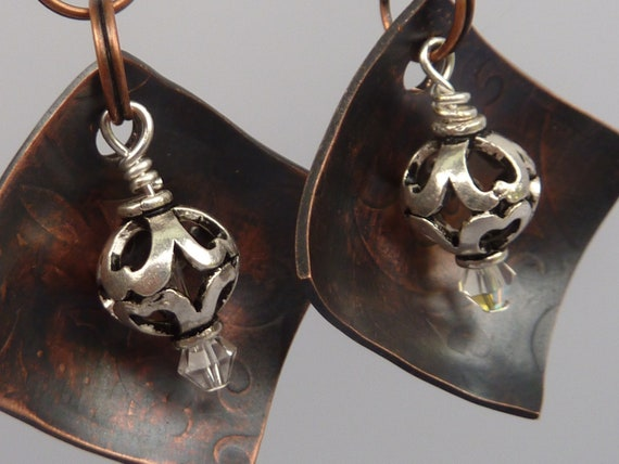 Hand Stamped Copper Earrings . Bali Silver Beads . Very Glassy Gifts