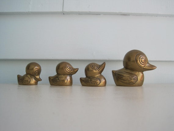 Vintage Brass Duck Knick Knacks, Set of Four