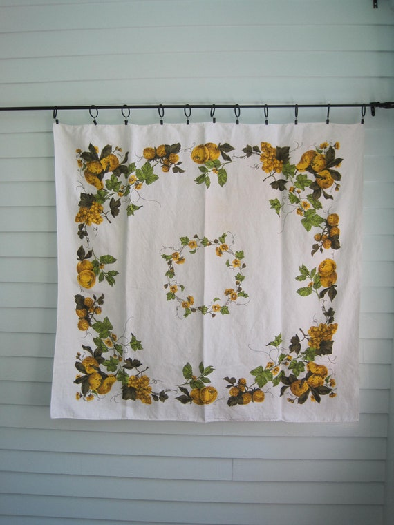 Vintage Table Cloth, Golden Apples and Pears with Green Leaves, Damaged, Cutter Fabric,