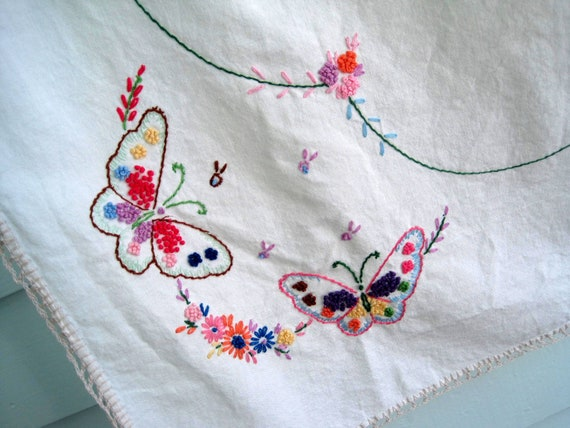 Vintage Embroidered Tablecloth, Lovely Vintage Linens with Butterfly Embroidery and Tatted Edges