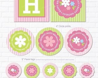 Flower Birthday Party DIY Printables Party pack - cupcake toppers - bottle wrappers - favor tag- Banners - instant download