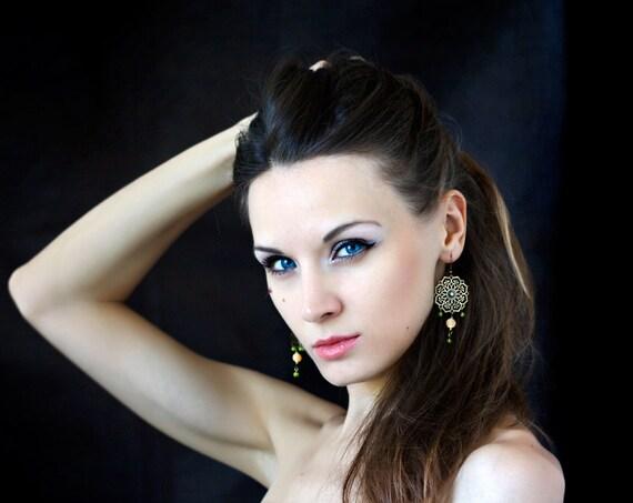 Chandelier Earrings, Gemstone Earrings, Bronze Chandelier Earrings, Orange Agate earrings, Gemstone jewelry, ohtteam