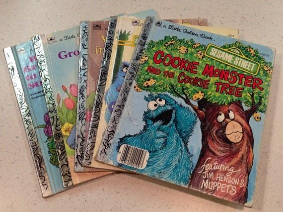 5 Vintage Golden Books Sesame Street Big Bird Bert Amp Ernie