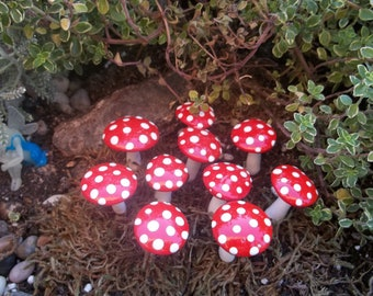 FREE Shipping 10 Miniature mushrooms mad hatter tea party favors wedding fairy tea party