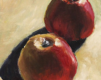 Apples Still Life Painting Original Oil  6x6 inch on unframed wood panel  Canadian wall art