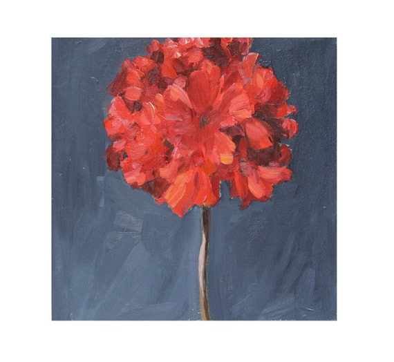 Red geranium Flower Painting on Oil wood panel Still life wall art panel slate blue gray 10x10 inch
